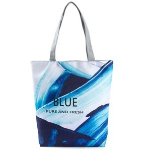 Canvas Shoulder Bag Women Tote Handbag Blue Style